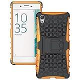 FastSun Heavy Duty Armor Hybrid Hard Stand Case Cover for Sony Xperia XA, F3111 / F3113 (Orange)