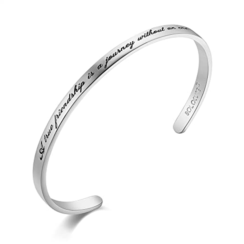 Solocute Cuff Bangle Bracelet Engraved A True Friendship is a Journey Without an end Inspirational Jewelry, for Christmas Day, Thanksgiving Day and Birthday