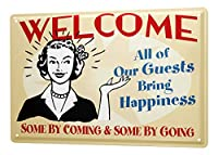 Fun Tin Sign ブリキ看板 Wall Decor Welcome to all our guests