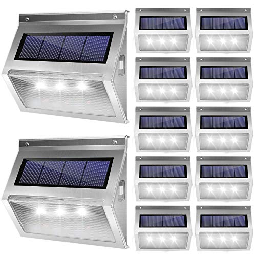 JACKYLED 12 Pack Solar Step Lights Upgraded Outdoor Deck Lights 3 LED Waterproof Stair Lights with Larger Solar Panel Outdoor Fence Light for Steps Stair Garden Fence Pathway Patio White Light