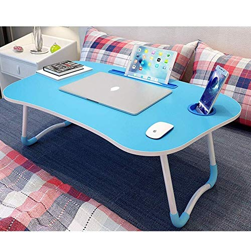 Laptop bureau voor Bed LAPTOP STAND Grote Opvouwbare Notebook Table Portable Lap Permanent Bureau met de Kop van Slot Breakfast Bed Tray Book Holder for Sofa Terras Balkon Tuin (Kleur: Blauw)