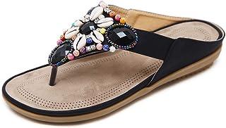 Ethnic T Strap Sandals Beaded Rhinestone Sandals Flat Sandals Toe Beach Clip Non-Slip Sandals