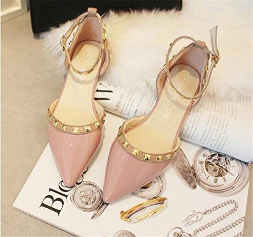 Xue Qiqi Court Schuhe Fan Schnalle mit römischen Nieten wies Flache Schuhe Pumps Schuhe Lackschuhe, 38, pink