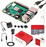 Raspberry Pi 4 Model B Starter Kit/ラズベリーパイ4B(4GB RAM)技適マーク付/MicroSDHCカード32GB NOOBSプリインストール/1つのプレミアムケース/4つのヒートシンクセットと1つの冷却ファン/5V/3A USB-C電源アダプタ ON/OFFスイッチ付き/2つのMicroHDMI-to-HDMIケーブルライン/カードリーダ/日本語取扱説明書/1年保証付