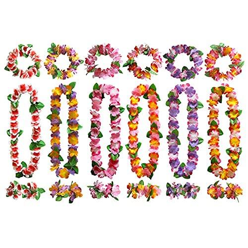 Hawaiian Leis Luau - Cadena de flores multicolor hawaianas, 12 pulseras, 6 cintas para la cabeza y 6 collares hawaianos