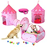 LimitlessFunN 4pc Kids Play Tent, Crawl Tunnel, Ball Pit and Star Lights [ Pop Up Portable Glow in The Dark Stars ] Children Castle Playhouse for Girls & Boys, Indoor and Outdoor Use (Pink)