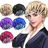 5pcs Large Satin bonnet for Curly Natural Hair, Double Layer Reversible Silk Hair Cap for Women Sleeping,188