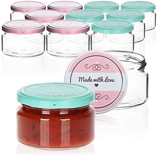 "com-four® 12x Tarros de Cristal para Conservas con Tapa de Rosca""Made with love"" en Verde y Rosa - TO Ø 82 mm - aprox. 200 ml"