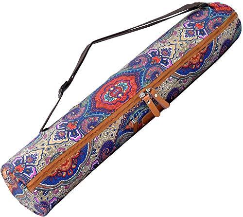 #DoYourYoga Yogatasche »Sunita hochwertigem Canvas (Segeltuch) / aufwendig verarbeitet Yogatragetasche/Tasche für Yogamatten bis zu Einer Größe von 180 x 60 x 0,5 cm/Blaues Muster