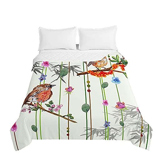 Colcha de Verano Cubrecama Colcha Bouti, Chickwin Pájaro Impresión Edredón Manta de Dormitorio Suave Ligero Colchas para Cama Infantil Individual Matrimonio (Bambú,180x220cm)