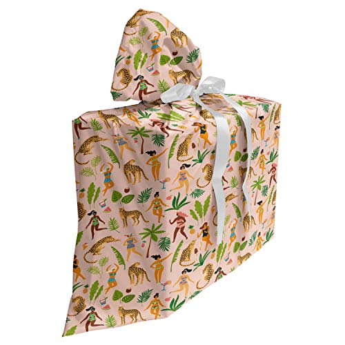 ABAKUHAUS Luipaard Cadeautas voor Baby Shower Feestje, Dames in zwemkleding Retro, Herbruikbare Stoffen Tas met 3 Linten, 70 cm x 80 cm, Pale Peach Multicolor