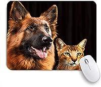 NIESIKKLAマウスパッド ジャーマンシェパードの犬と猫 ゲーミング オフィス最適 高級感 おしゃれ 防水 耐久性が良い 滑り止めゴム底 ゲーミングなど適用 用ノートブックコンピュータマウスマット