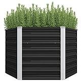vidaXL Hochbeet Pflanzkübel Blumenkasten Garten Pflanzkasten Terrassen Gemüsebeet Gartenbeet Pflanzbeet Anthrazit 129x129x77cm Verzinkter Stahl