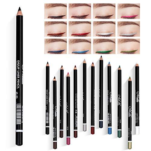LATTCURE 12 Farben Eyeliner Set , Eyeliner Pen, Wasserfest Kajalstift bunt Lidstrich Augen Kosmetik Makeup als auch Augenbrauenstift Lip Liner Pencil Long-Lasting
