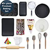 40+ Piece Baking Set - for Beginners, Professionals, Kids, Teenagers, Adults; Silicon Utensils Pack, Cupcake/Baking Tray, Cookie Cutters Kit, Rolling Pin, Spring Form, Loaf Pan (Standard)