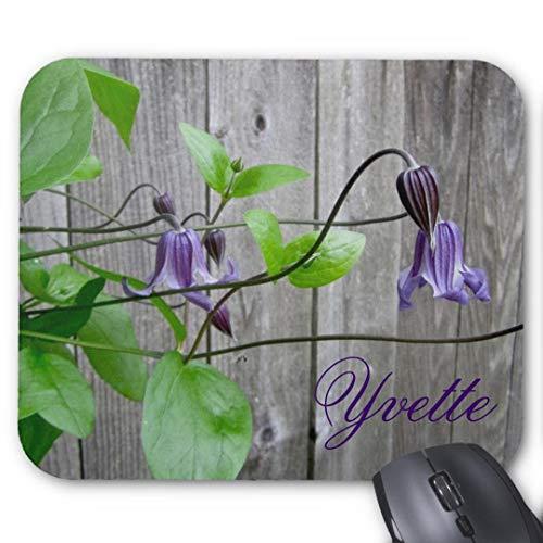 Tappetino per mouse rettangolare in gomma antiscivolo, motivo floreale romantico, viola clematis roguchi d