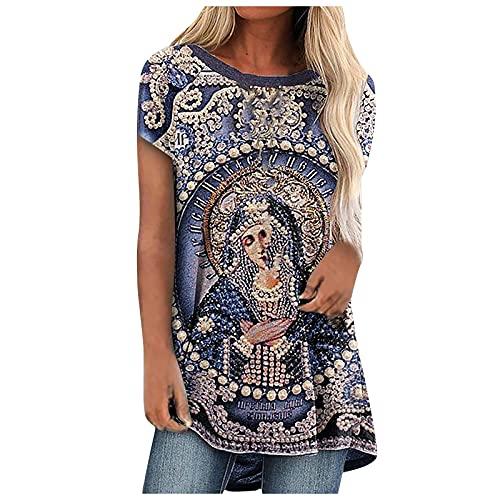 Camisetas Mujer Online, Blusas Vaqueras, Chalecos De Punto Mujer, sobre Camisa Mujer, Camisetas Básicas Mujer, Blusa De Manga Corta con Estampado Cruzado Vintage Casual De Verano para Mujer To