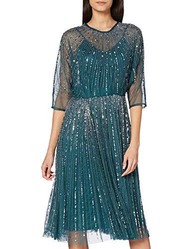 Frock and Frill Embellished Midi Dress Vestito da Cocktail, Verde Smeraldo, 42 Donna