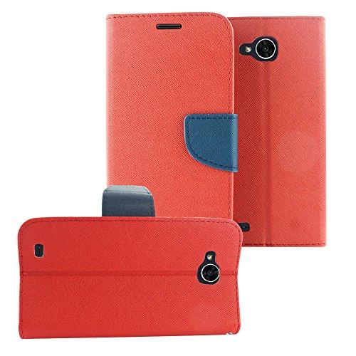 LG X Venture M701 / H700 / LG X Calibur - Klapphülle + Bildschirmschutzfolie aus gehärtetem Glas, CT4 Dark Blue/Red