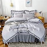 Faldas de cama 3 piezas Faldas de volantes colchas Set de colchas Sólido Color de la rejilla Caída de estilo con volantes Falda y fundición y funda de almohada, Ruffles de polvo Ropa de cama antidesli