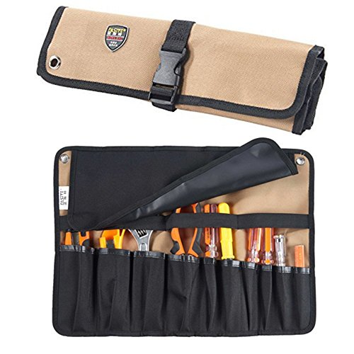 ENJOHOS Babimax Rolltasche Werkzeugetasche aus 600 Denier Oxford, 10 Fächer, 45x32cm, Leicht Tragbar Wasserdicht für Techniker Elektriker Mechaniker Maler Handwerker(ohne Werkzeuge)