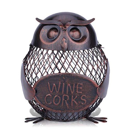 Statues and Sculptures Outdoor Decor for Garden,Wine Rack Owl Box Mesh Wine Bottle Holder Cork Container Iron Jar Art Fantastic Sculpture