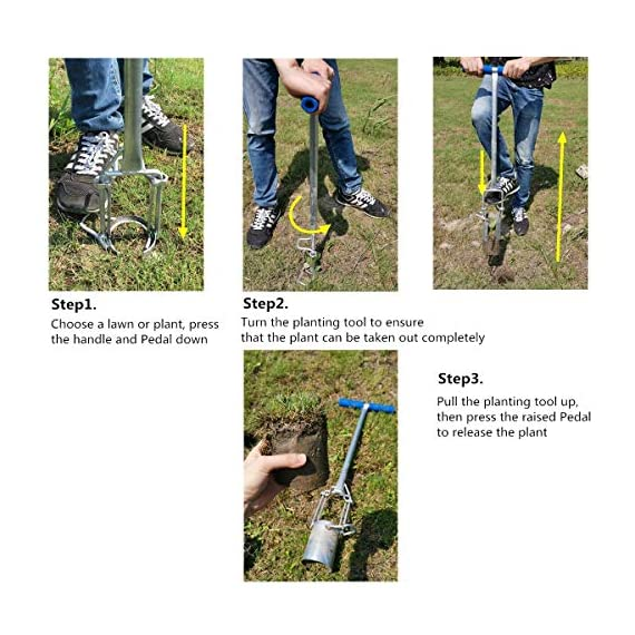 CHUMAA Bulb Planter, Weeder, Sod Plugger, Flower Planting, Soil Sampler-5-IN-1 Lawn Tool and Garden Tool - Enhanced… 3 SIMPLE AND EASY TO USE –To use, drive the Long-Handled Bulb Planter into the soil and turn clock-wise and counter-clockwise a few times to loosen up the dirt, then pull up. Dig 3.5inch diameter planting holes quickly, one after another, from a comfortable standing position. Avoid digging in dry or overly saturated soil. MULTI-USE GARDEN TOOL –Plant your garden favorites. Spring and fall bulbs, annuals, ground covers, vegetables and more. Makes a great lawn and sod plugger, weeding tool, soil sample tool and drip-edge fertilizing tool. TAKE THE PAIN OUT OF PLANTING –5-IN-1 Planting Tool allows you to work from a standing position, saving your back and knees. Comfortable, sturdy hand grips are helpful for seniors or those with mild arthritis.