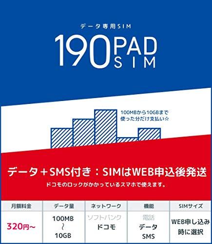 b-mobile S 190PadSIM (ドコモ) (SMS付きデータ専用) (申込パッケージ) (月額320円?)