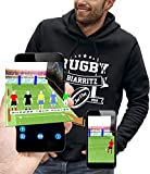 PIXEL EVOLUTION Sweat à Capuche 3D Rugby Biarritz en Réalité Augmentée Homme - Taille XL - Noir