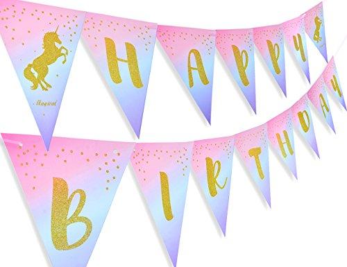 Kreatwow Bandera mágica de unicornio para niñas, decoración de fiesta de cumpleaños