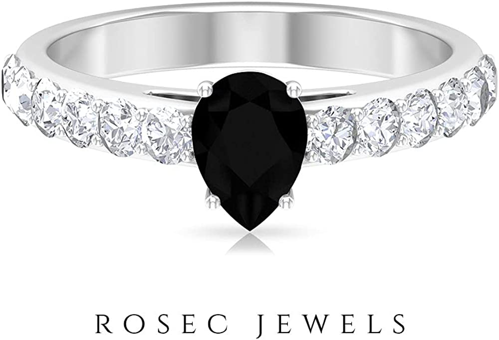5X7 MM Pear Shaped Lab Created Black Diamond Solitaire Ring with Moissanite Accents (AAAA Quality), 14K White Gold, Size:US 11.0