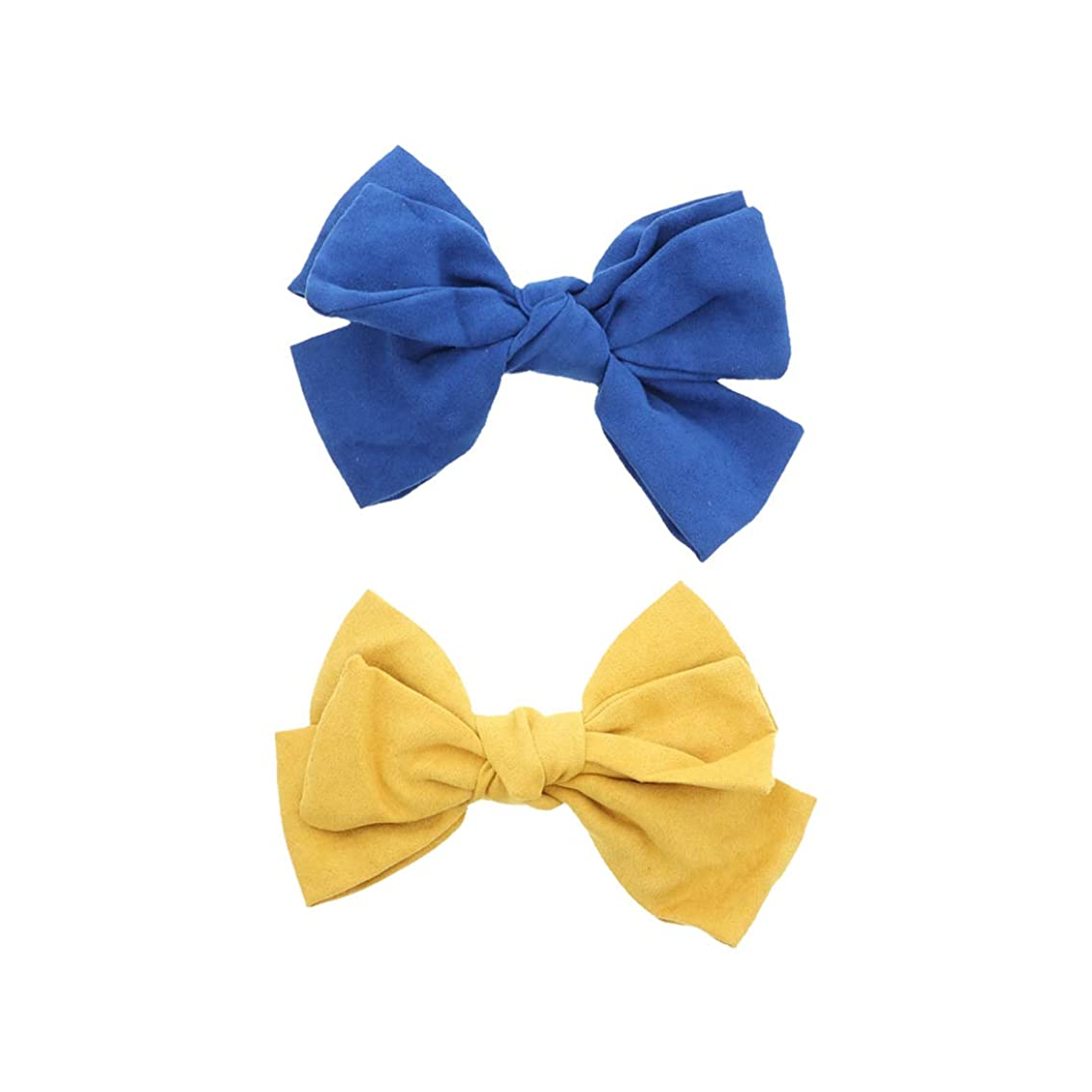 Royal & Mustard Suede Bow Clip Small Hair Bow - Set of 2