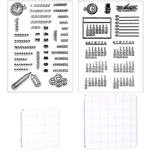 4 Pieces Calendar Planner Clear Stamps Set Dates Months Silicone Stamps and Acrylic Stamp Blocks Tools with Grid Lines for Card DIY Making Crafts Decor Scrapbooking Supplies
