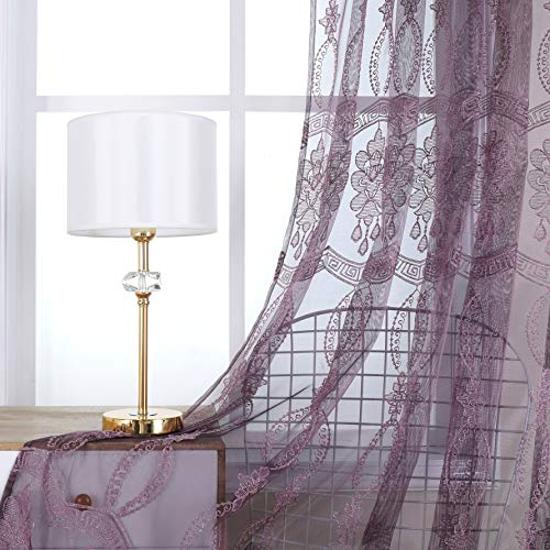 Jiyoyo Embroidered Violet Sheer Curtain for Parlor Window Curtain Treatment Rod Pocket Drape Panel Voile Living Room(1 Panel, W 50 x L 84 inch, Purple Bottom + Silver Embroidery)