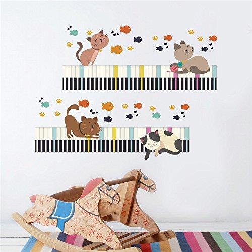 WLWIN schöne cat pfote fisch klavier wandaufkleber für kinderzimmer wohnkultur wandtattoos wandbilder kinder schlafzimmer dekoration poster,Geschenk,Neues jahr