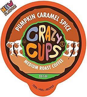 Crazy Cups Flavored Decaf Hot or Iced Coffee, for the Keurig K Cups Coffee 2.0 Brewers, Pumpkin Caramel Spice, 22 Count
