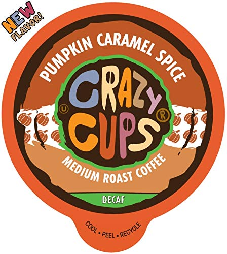 Crazy Cups Decaf Flavored Coffee, Decaf Pumpkin Caramel Spice, Recyclable Single Serve Decaffeinated Pumpkin Spice Coffee Pods for Keurig K Cups Machines, Brew Hot or As Iced Coffee, 22 Count