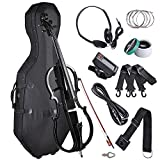 AW 4/4 Full Size Electric Silent Cello Solid Wood Powerful Sound with Hard...