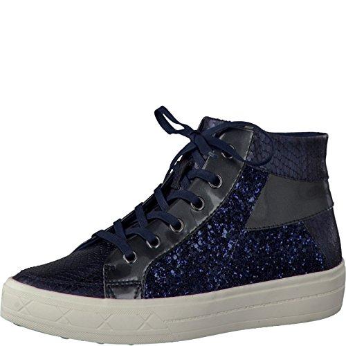 Tamaris Schuhe 1-1-25206-28 Bequeme Damen Stiefel, hohe Sneaker, Boots, Sommerschuhe für modebewusste Frau, Trend blau (Navy Glam Comb), EU 39
