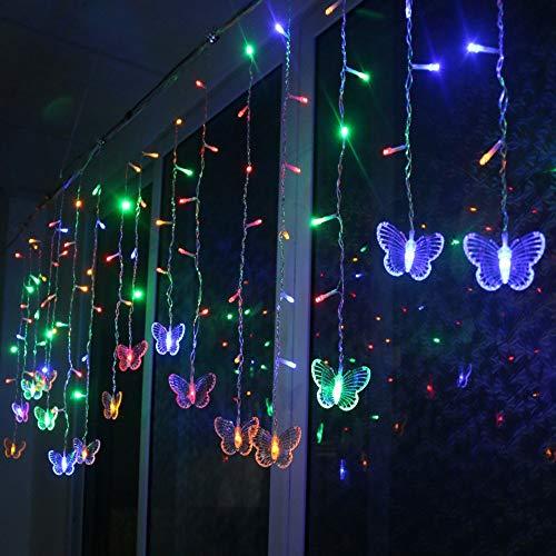 LED Lichterkette Innen Strom Schmetterling Lichterkette 48 LEDs Lichtervorhang Weihnachten Lichterketten Vorhang Lichterkette IP44 Wasserfest Für Weihnachten Dekoration Partydeko Hochzeit (Mehrfarbig)