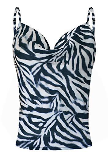 OMZIN Damen Tanktop Trägertop Sexy Unterhemd Ärmellos Sommer Top Oberteile V-Ausschnitt Vintage Satin Shirt Gedruckt Strap Top T-Shirt Bluse Vest Zebra XL
