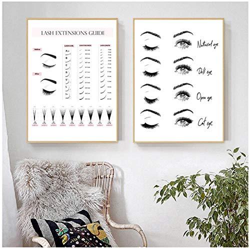 xiongda Lash Extensions Technician Guide Poster und Drucke Make-up Wandkunst Bild Dekor Wimpern Business Form Art Leinwand Malerei / 50x70cmx2Pcs-No Frame