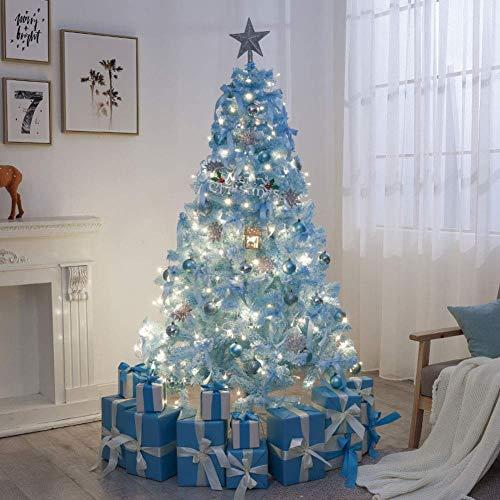 LIUSHI Árbol de Navidad Flocado Artificial, árbol de Pino de Navidad de la Granja para la decoración del Partido del Festival de la Boda del hogar de la Navidad-con la decoración 180cm