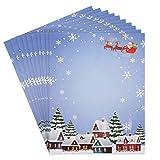 Papel Carta Navidad (96 Hojas) 21,5 x 28 cm Tamaño Carta 100GSM- Papel de Carta Tema de Papá Noel Apto para Escribir Cartas e Imprimir - Mensajes Saludo Santa Claus para Amigos, Familiares y Niños