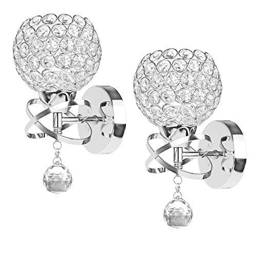 ALLOMN - Moderna lámpara con colgante de cristal para colocar en paredes, dormitorios, pasillos o salones con portalámparas E14 (2unidades)