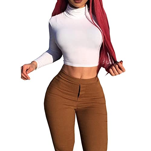 942a3c5e09807 Haola Women s Long Sleeve Casual Turtleneck Crop Tops Warm and Soft