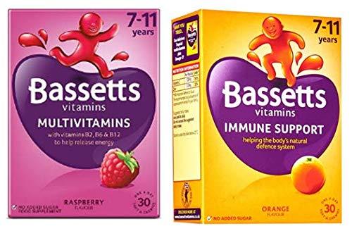 Bassetts Multivitamins Kids 7-11 Raspberry Flavour and Orange Flavour x2 Bundle