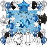 SPECOOL 30 Años Globos Decoración Cumpleaños, Globo Fiesta de Globos Metálicos Azul Plata, Globos Negros para Fiesta de Cumpleaños para Hombres Niño Niña con Hojas de Palmera y Fondo Decorativo (30)