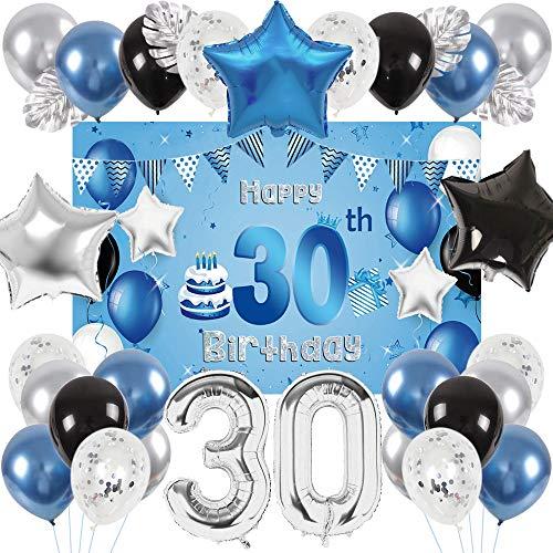 SPECOOL 30 Jahre Geburtstagsdeko Ballon, Happy Birthday Ballons Blau Silber Metallic Luftballons, Schwarz Ballon Geburtstag Dekoration für Geburtstag Mann mit Palmblättern und Dekoration Hintergrund