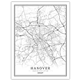 CJWDXYX Leinwand Bilder,Nordic World City Map Hannover